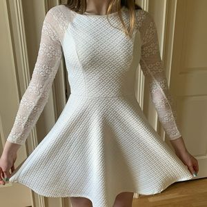 White semi-formal fit and flare dress